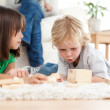 Cute little boy playing dominoes with his sister on the floor — Stock Photo