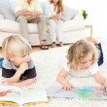 Childrens reading books — Stock Photo