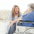 Seniors friends talking together — Stock Photo