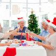 Seniors on Christmas day at home — Stock Photo #10844200