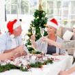 Seniors on Christmas day at home — Stock Photo #10844752