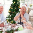 Seniors on Christmas day at home — Stock Photo