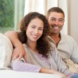 Joyful couple looking at camera — Stock Photo #10845876