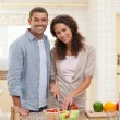 Stock Photo: Handsome mcooking with his girlfriend