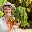 Senior woman with vegetables - Stock Photo