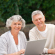 Retired couple working on their laptop — Stock Photo #10846615