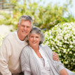 Retired couple looking at the camera — Stock Photo