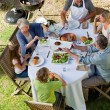 Adorable family eating in the garden — Stock Photo #10846997