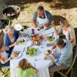 Adorable family eating in the garden — Stock Photo #10847002