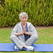 Stock Photo: Retired wompracticing yogin garden