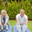 Senior couple doing their streches — Stockfoto
