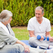Mature couple doing their exercises in the garden — Stock Photo #10847228