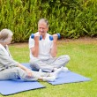 Mature couple doing their exercises in the garden — Stock Photo #10847230