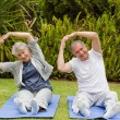 Senior couple doing their streches in the garden — Stock Photo #10847246