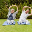 Senior couple doing their streches in the garden — Foto de Stock