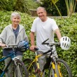 Mature couple walking with their bikes — Stock Photo