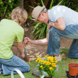 Grandfather with his grandson working in the garden — Stock Photo #10847776