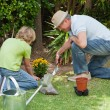 Grandfather with his grandson working in the garden — Stock Photo