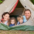 Stock Photo: Joyful family camping in the garden