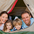 Royalty-Free Stock Photo: Joyful family camping in the garden