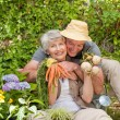 Man hugging his woman in the garden — ストック写真