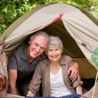 Couple camping in the garden - Stock Photo