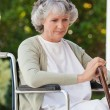 Senior woman in her wheelchair — Stock Photo