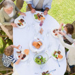 Stock Photo: Family eating in the garden