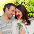 Stock Photo: Lovely lovers in garden