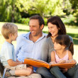Family looking at their photo album in the park — Stock Photo #10849260