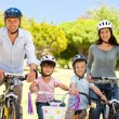 Family with their bikes — Stock Photo