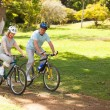 Retired couple mountain biking outside — Stockfoto