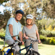 Elderly couple with their bikes - Foto Stock