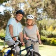 Elderly couple with their bikes — Stock Photo #10849768