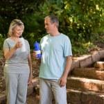 Couple drinking water — Stock Photo