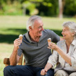 Senior couple eating an ice cream on a bench — Stock Photo #10849873
