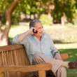 Mature man phoning in the park — Stock Photo