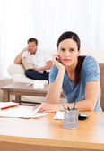 Couple sulking after doing their account together — Stock Photo