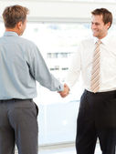 Two happy businessmen concluding a deal by shaking their hands — Stock Photo