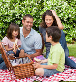 Family picnicking in the garden — Stock Photo