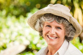 Pretty senior woman looking at the camera — Stock Photo