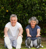 Retired couple doing their exercises — Stockfoto