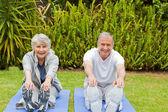 äldre par gör deras sträcker — Stockfoto