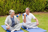 Mature couple doing their exercises in the garden — Stock Photo
