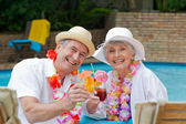 Happy senior couple drinking cocktail and toasting each other — Stock Photo