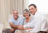 Seniors with assurance man looking at the camera — Stock Photo