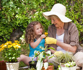 Happy Grandmother with her granddaughter working in the garden — Stock Photo