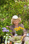 Retired woman working in the garden — Stock Photo
