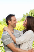Enamored couple in the garden — Stock Photo