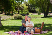 Elderly couple picnicking in the garden — Stock Photo